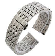 Correa de reloj de 22 mm de plata para hombre de acero inoxidable sólido Mens Metal Watch Band pulsera correa