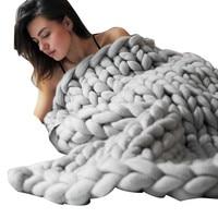 Hand Chunky Knitted Blanket Thick Yarn Merino Wool Bulky Knitting Throw 80x100cm Dropshipping Sep21