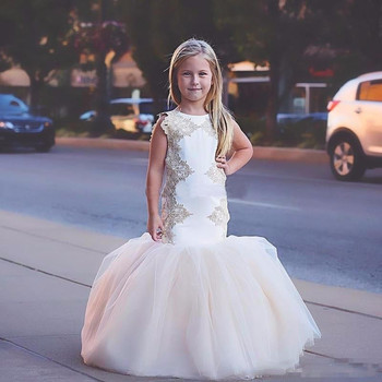 New Champagne Mermaid Flower Girl Dresses Tulle Little Girl Wedding Party Applique First Communion Dresses Size 2-14Y