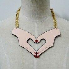 Ночной клуб панк аксессуары и украшения женщин мода колье цепи акриловые большой рука в форме сердца ожерелье хип-хоп