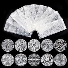 White Lace 10 PCS/set Stickers Nail Art Floral Transfer Foil Women Decoration Manicure Tool