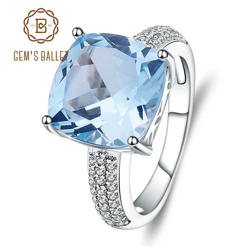 Rings Gem's Ballet 10.18Ct Natural Sky Blue Topaz Gemstone Wedding Ring 925 Sterling Silver Fine Jewelry For Women Cocktail Ring
