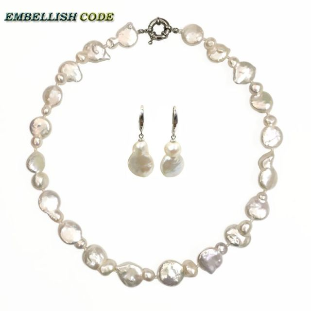 image irregular layers uk shaped farra wolf pearls double necklace white