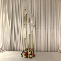 Acrylic Flowers Vases 8 heads tall Candle Holders backdrops Road Lead Table Centerpiece Pillar Candlestick For Wedding backdrops