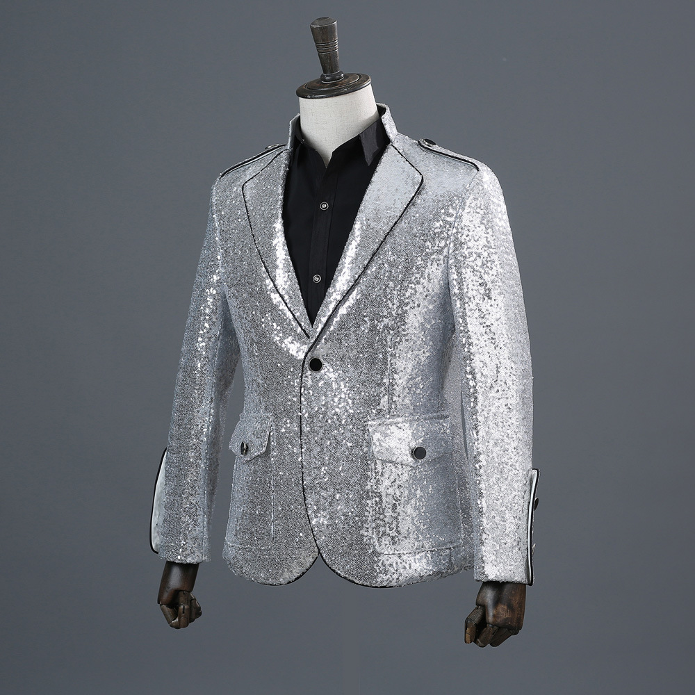 Mens Sequin Jacket Fashion Sequins Suits Blazer 2019 Men Clothes Nylon Single Breasted Silver Mens Blazers Mens Suits Jacket in Blazers from Men 39 s Clothing