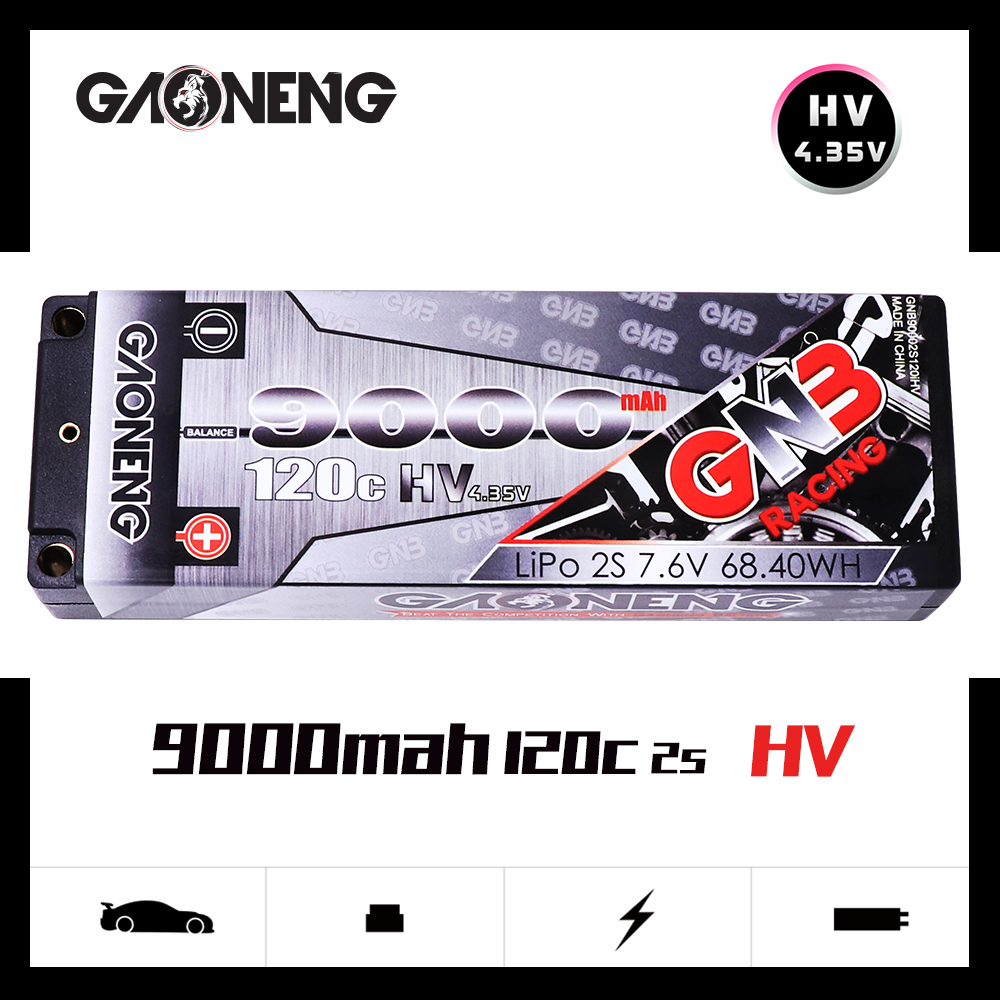 Gaoneng GNB 9000mAh 2S 7.6V HV 120C/240C Hardcase LiHV Recharge LiPo Battery pack with Deans T Plug for 1:10 1/10 RC Car BoatGaoneng GNB 9000mAh 2S 7.6V HV 120C/240C Hardcase LiHV Recharge LiPo Battery pack with Deans T Plug for 1:10 1/10 RC Car Boat
