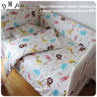 Promotion! 6/7PCS Customize cot bedding kit bed around bed by quilt cover baby bedding set piece,120*60/120*70cm