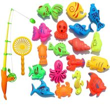 OOTDTY Creative Baby Bathing Toy 22-piece Magnetic Fishing Toy Set Bath Toys High Quality Exquisite quality ferrofluid magnetic display in a bottle creative toy