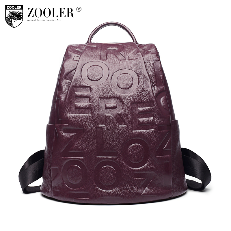 ZOOLE Brand Genuine Leather Backpacks Women School Style Cowhide Travel Bag Ladies Real Leather Backpack Female Designer Mochila real cowhide genuine leather backpack women s bag vintage designer girls travel school bags famous brand female laptop rucksack