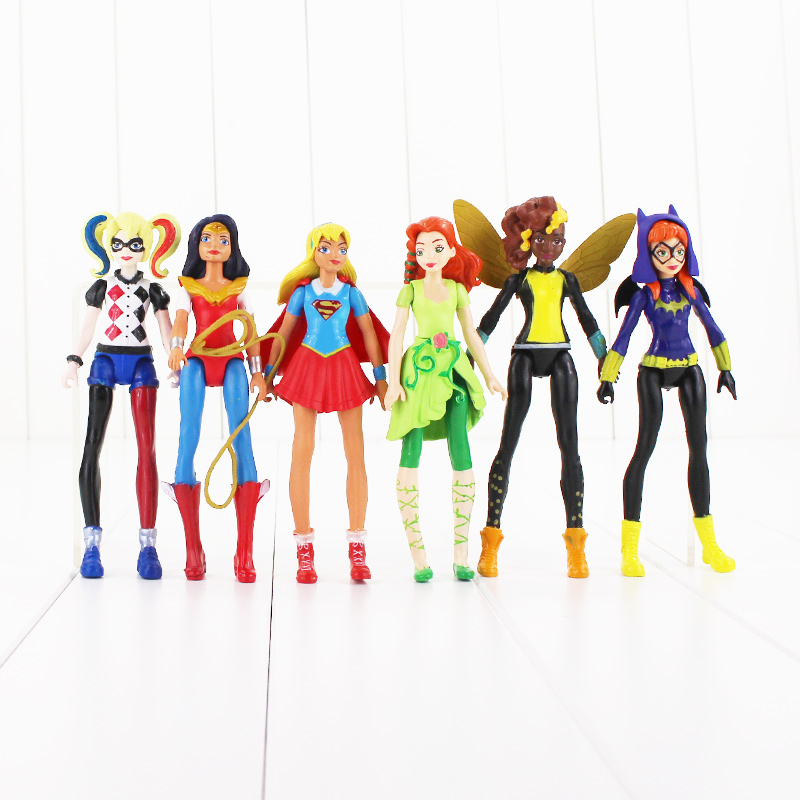 6 шт./лот DC 15 см супер герой Superwoman Харли Квинн Wonder Woman фигурку игрушка Коллекционная модель Игрушечные лошадки для детей