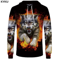 KYKU Brand Wolf Sweatshirts Flame Sweatshirt Sexy Hoodie Sweatshirts Male Sweat Shirt Men Cool Hoodie Anime