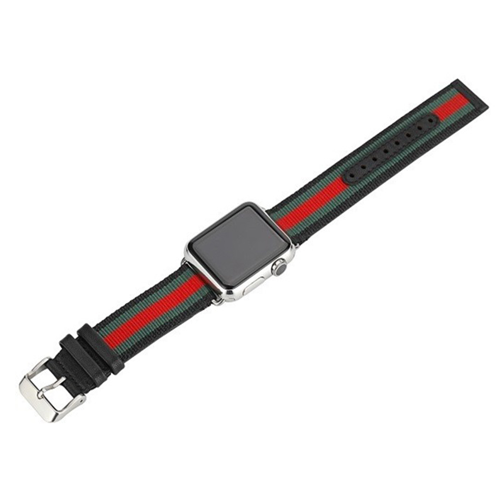 Apple Watch Band Strap Striped Nylon & Leather Fits Series 44Mm/ 40Mm/ 42Mm/ 38Mm Iwatch Series 1 2 3 4