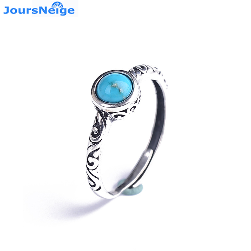 Wholesale Blue Natural Stone Ring S925 Sterling Silver Mosaic Ring Simple Female Women Girl Gift Crystal Ring Jewelry