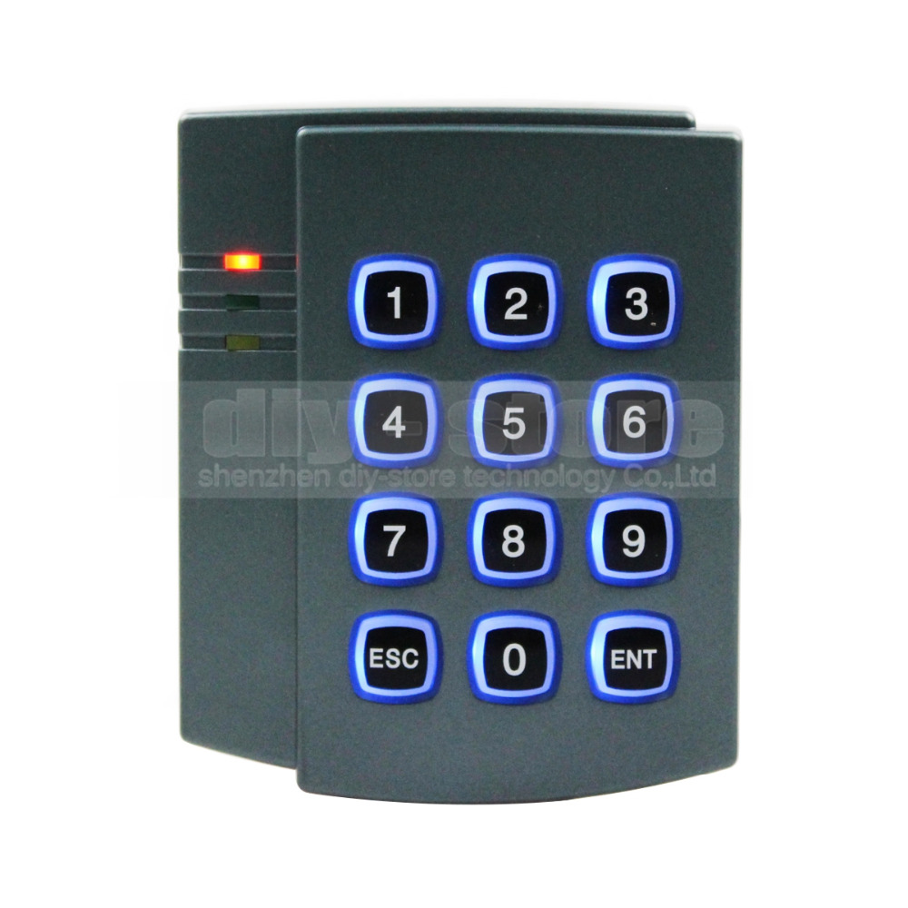 Diysecur 125khz rfid id card reader password keypad door for Door access controller