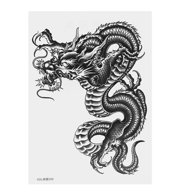 Grande Drago Nero Del Braccio Tatuaggio Temporaneo Autoadesivi Del