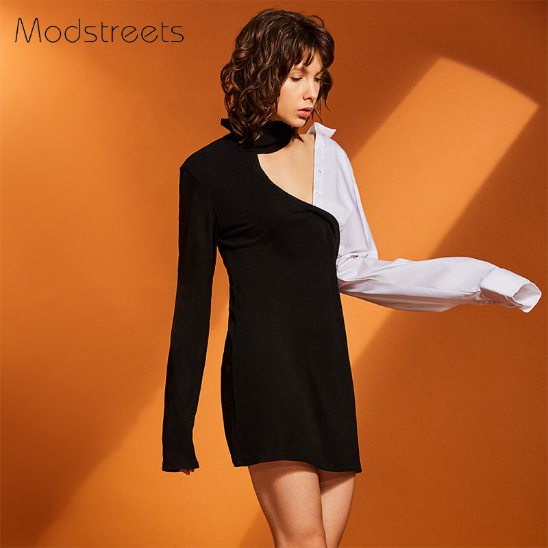 Modstreets Asymmetrical Shirt Dress Women V Neck Patchwork Dresses Female Sheath Dress With Long Sleeves Sexy Black Bodycon