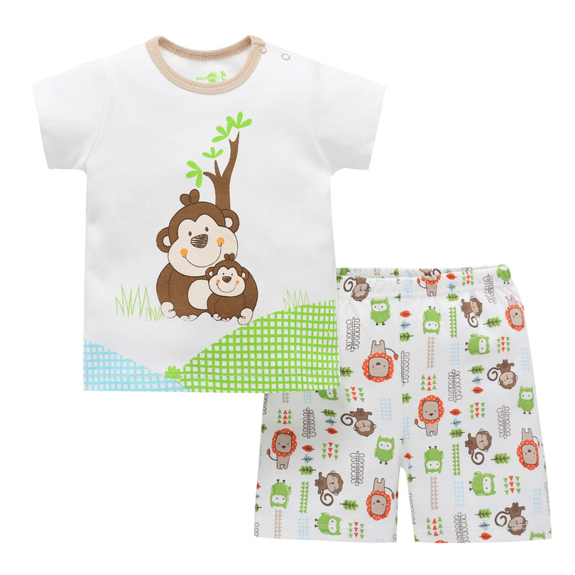 Cartoon Cotton Summer Clothing Sets for Newborn Baby Boy Infant Casual Clothes Suit T-shirt+Pant Suit Bebes Girls Clothes