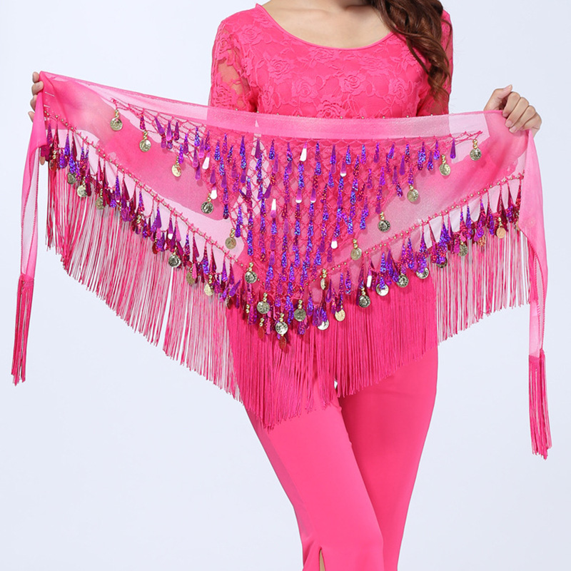 Belly Dancing Skirt Gradual Change Triangle Fringed Women Practice Dance Wear Hip Scarf Sequined Belly Dancing Waist Chain