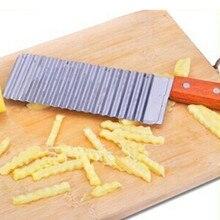 De onda de estilo mango de madera patatas fritas corrugado hechos a mano de la arruga de la patata cortador slicer envío gratis F-209