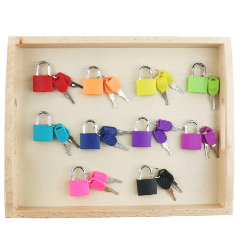 En bois Montessori Jouets Infantile Coloré Lock Set Préscolaire Éducatifs Jouets D'apprentissage Pour Les Enfants Juguetes Brinquedos MG0364H