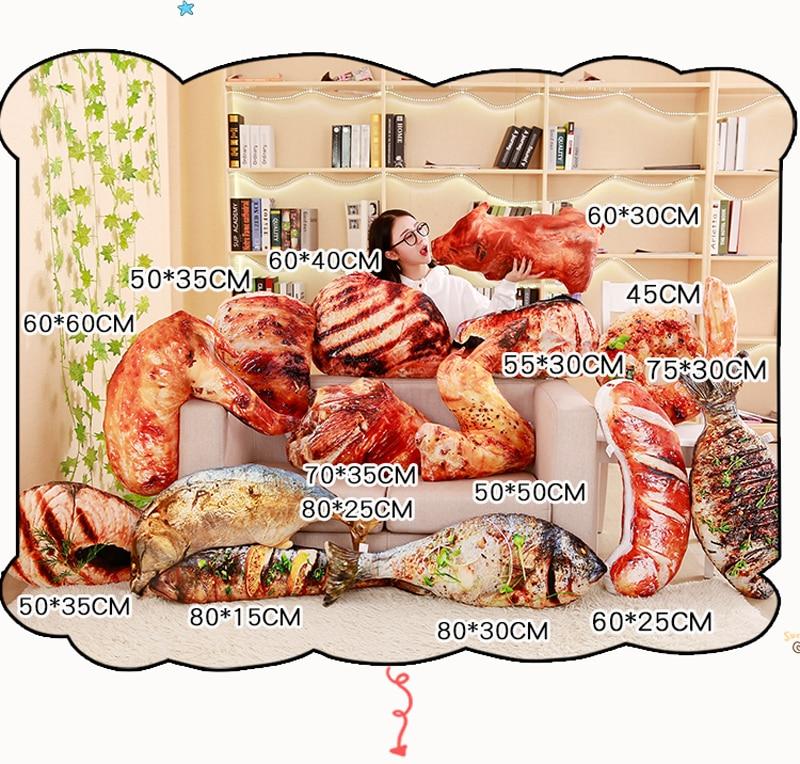 HTB1k0ZMBN1YBuNjy1zcq6zNcXXaG 3D Simulation Food Shape Plush Pillow Creative Chicken Sausage Plush Toys Stuffed Sofa Cushion Home Decor Funny Gifts for Kids