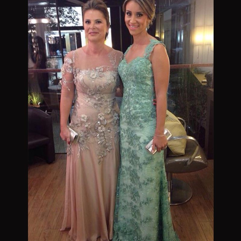 Elegant Evening Gowns Mother Groom Scoop Neck Green Lace