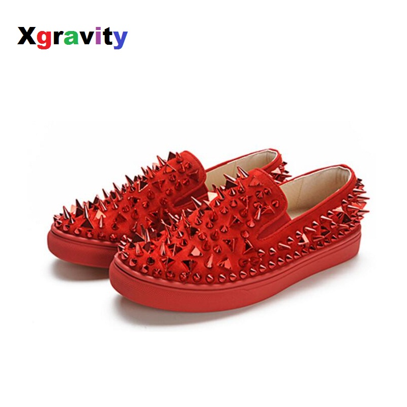 Xgravity New Autumn Fashion Women Casual Loafers Elegant Tri-angle Rivets Woman Flat Shoes Round Toe Lady Fashion Footwear C005 100pcs lot 6colors 12mm round spikes fashion pop rivets stud hardware w screw for bags shoes wallets belts
