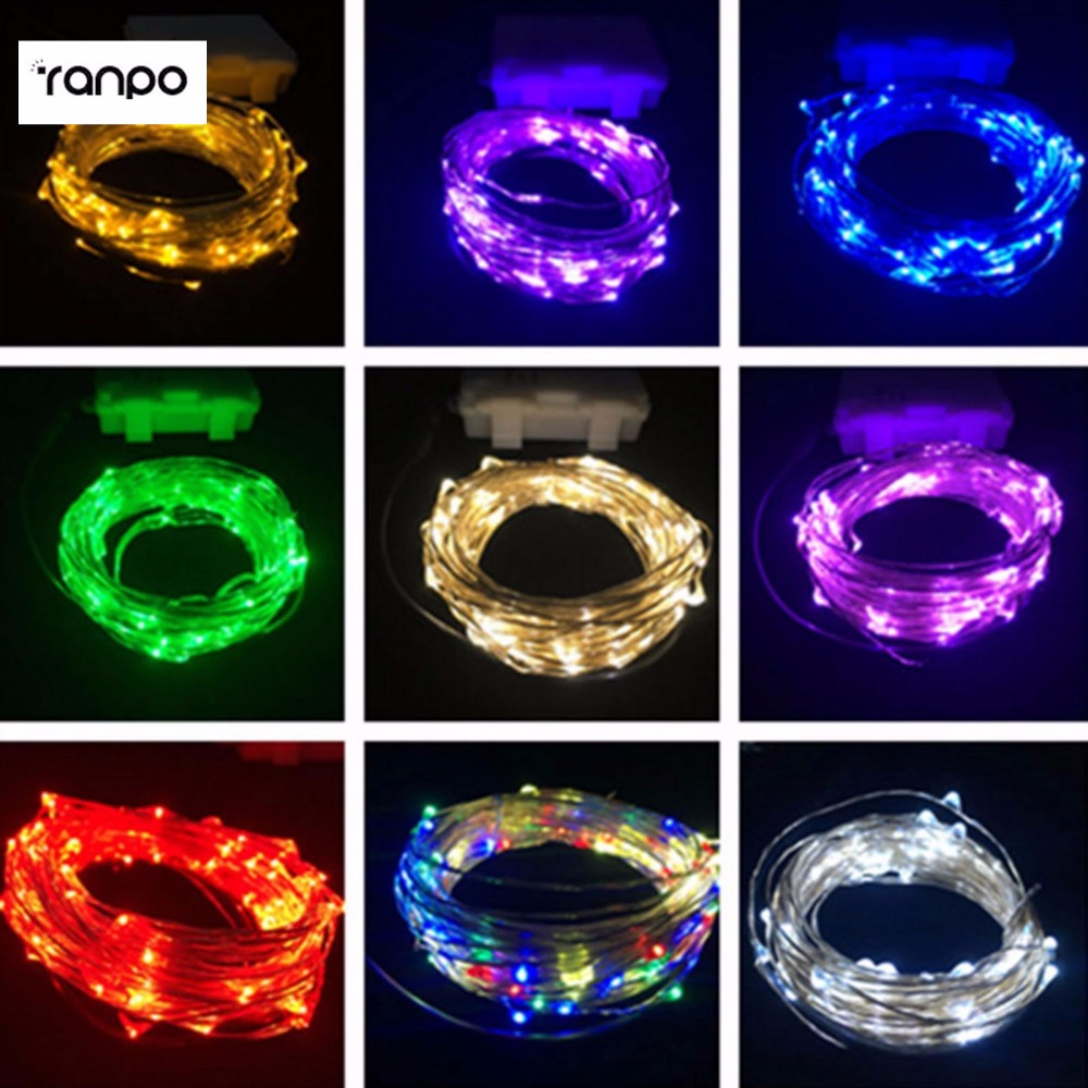 10M 100leds LED Silver Color Copper Wire Fairy String Lights lamp for Wedding and Party Luces de Navidad 3AA Battery Powered