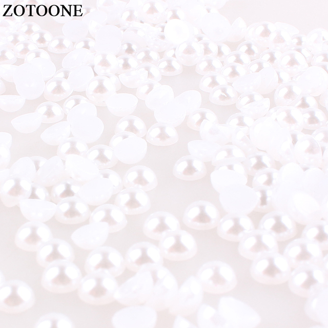 ZOTOONE White Non Hotfix Rhinestones Nail Art Decorations Crystal Applique  ABS Resin Flatback Pearl Rhinestone Dor Clothes E eab37297704d