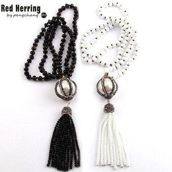 Moda Bohemia joyería Tribal negro/blanco de cristal de anudada hecha a mano de la pelota y Tasse collares