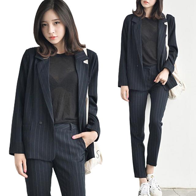 De dos piezas de las mujeres de primavera y otoño de manga larga a rayas casual temperamento OL carrera trajes (chaqueta + pantalones)