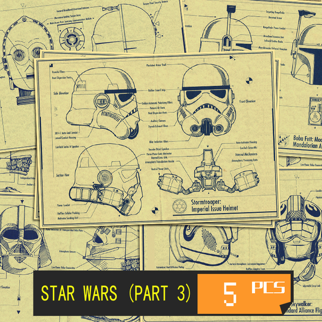 Star wars movie the blueprint art wall home vintage poster decoratio star wars movie the blueprint art wall home vintage poster decoratio movie poster wall stickers 5 malvernweather Gallery