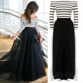 Vestido Women Maxi Dress Off-shoulder Striped High Waist Tutu Ball Gown Party Club Slim Long Dress de festa New Plus Size
