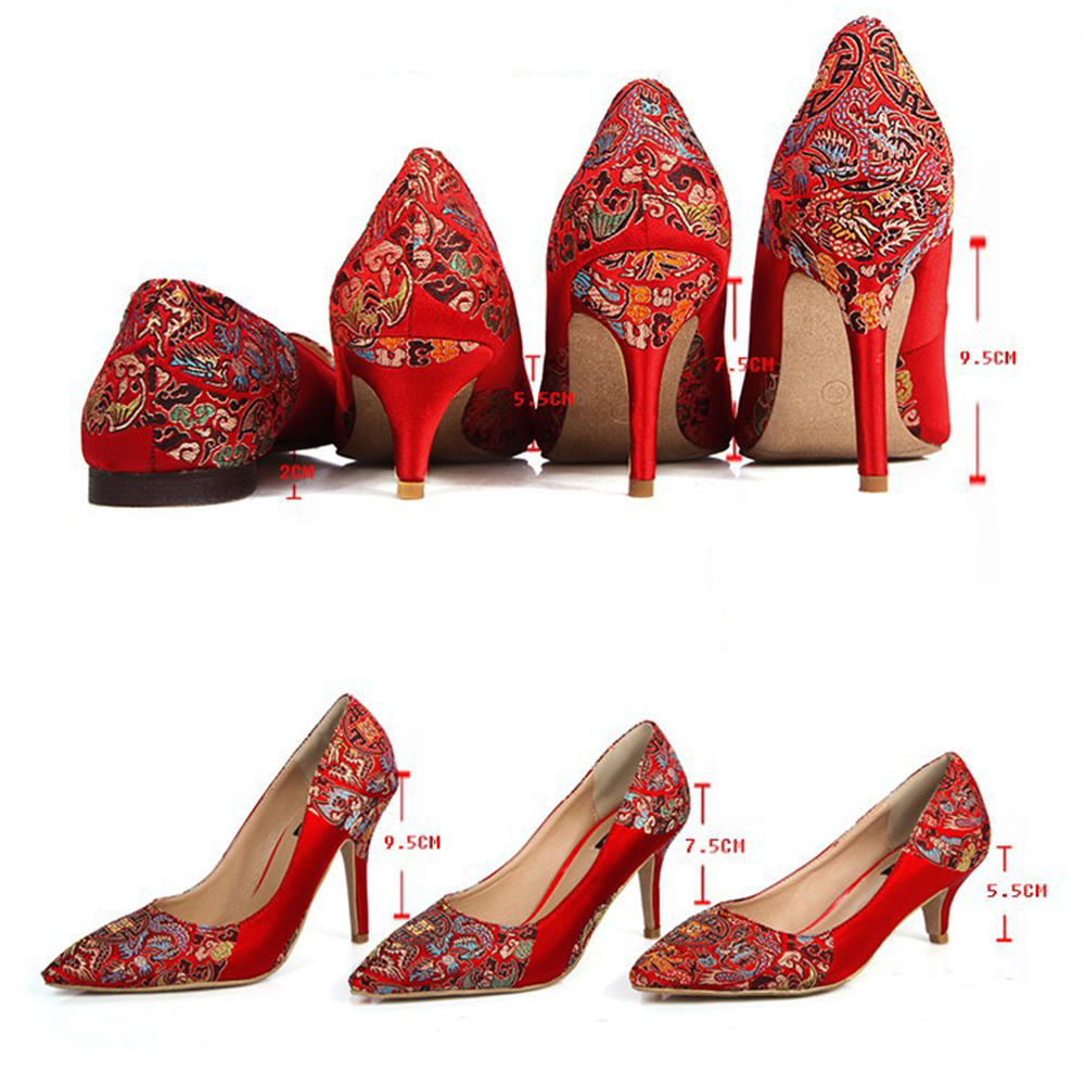 70996704423764 Mode Printemps Automne Haute Talons Plate Forme Pompes Rouge De Mariage  Femmes Chaussures Vintage Broderie De Soie Chaussures de Mariée Bout Pointu  Slip ...