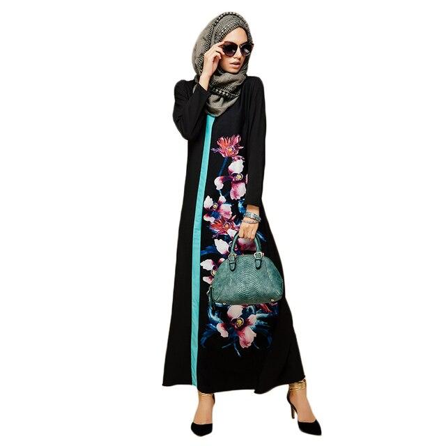 b30f68d18072 Donne Fiore Stampa Abito Arabo Musulmano Caftano Dress Plus Size Dubai  Vestiti Stile Turco Nero Maxi