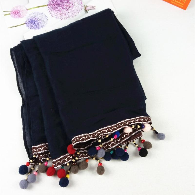 2018 Women Woven Ribbon Pompon Beads Scarf TR Cotton Scarf 2Colors 10pcs/lot