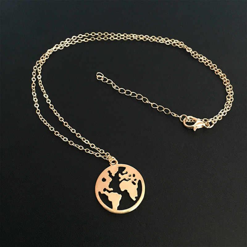 Новинка 2019, модные популярные ювелирные изделия, богемное простое геометрическое ожерелье с картой мира, Женские Ювелирные изделия, оптовая продажа