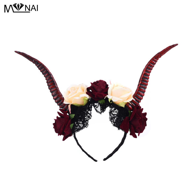 Steampunk Demon Evil Lace Antelope Rose Headband Cosplay Costumes Halloween Party Horn Hair Band Prop Gothic Fancy Dress Punk