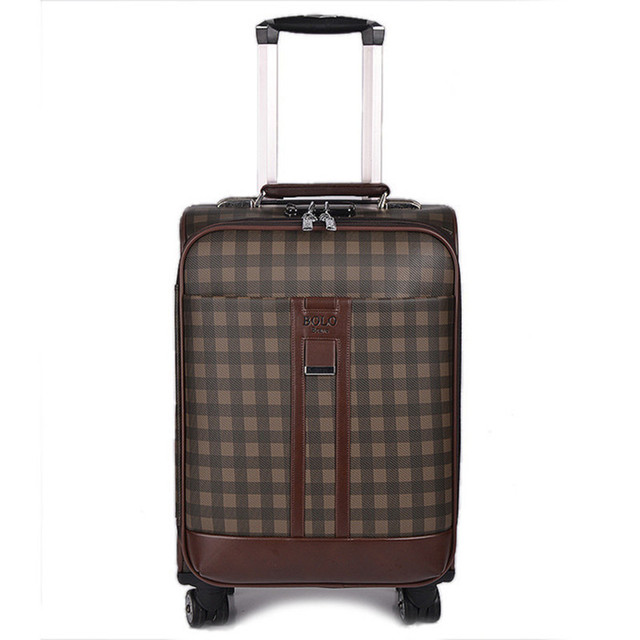 BOLO BRAVE 20 24 INCH PU Leather lattice Travel Luggage Bags Business Trolley Case Men Suitcase Bag high quality man commercial