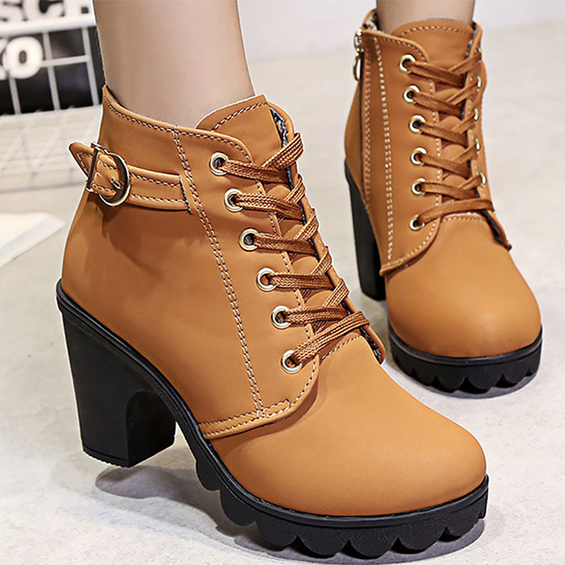 Women boots Hoof heels Zip ankle fashion motorcycle boots platform increase botas mujer 2018 designer spring/autumn