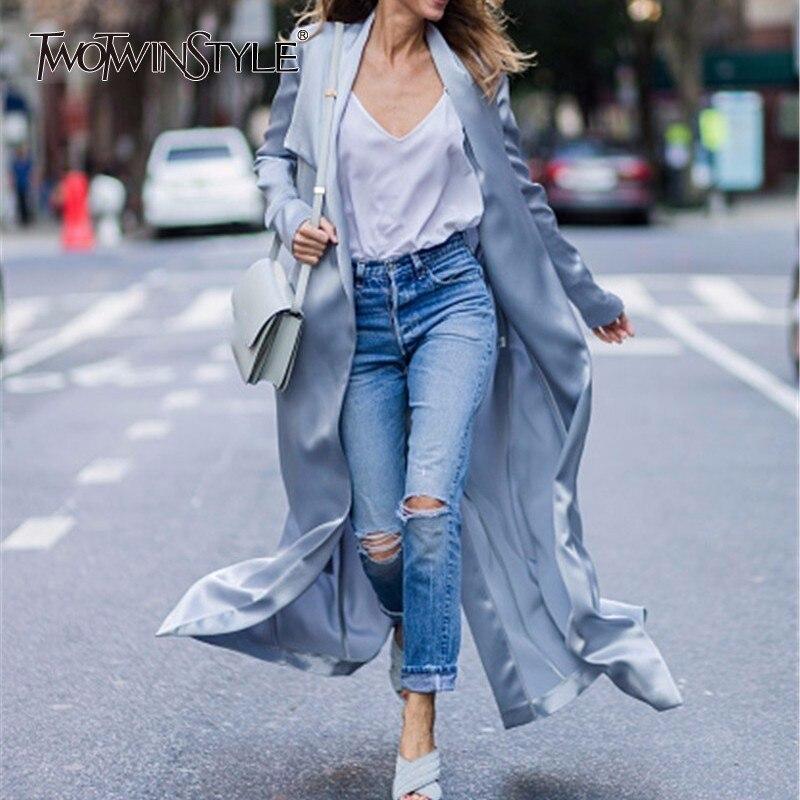 TWOTWINSTYLE 2018 Autumn Lace Up Womens Windbreaker Long Sleeve Slim Maxi Trench Coat Female Cardigan Elegant Clothes Fashion