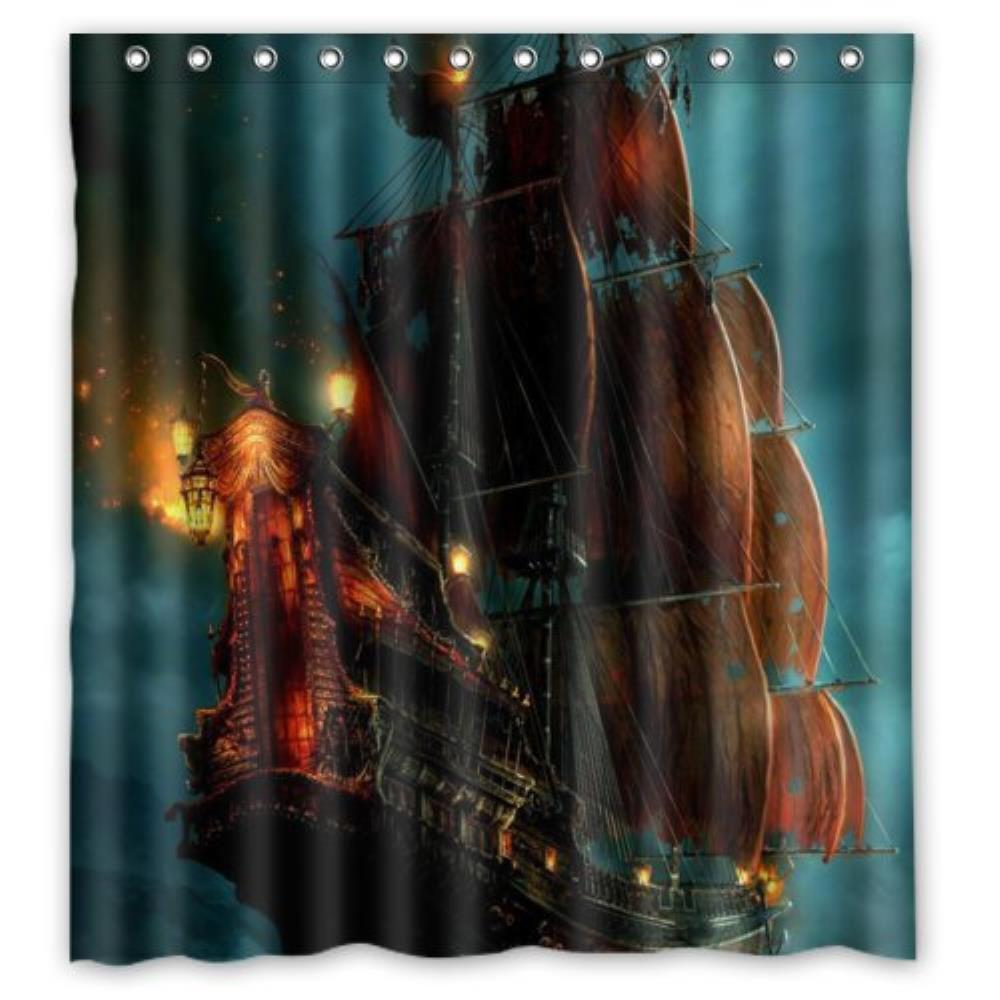 Pirate bathroom decor - Nautical Vintage Sailing Pirate Ship Theme Polyester Bathroom Custom Shower Curtain Bathroom Decor Polyester 66