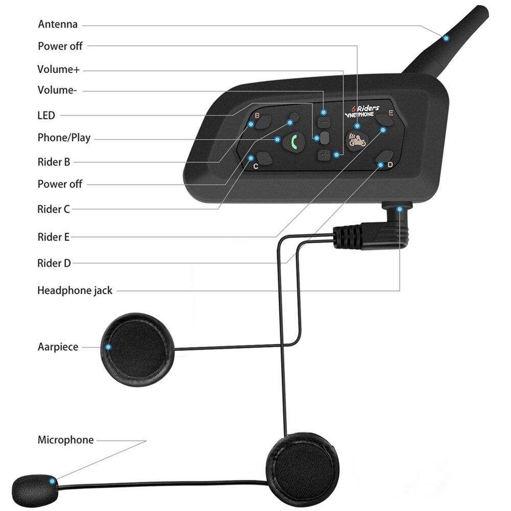 2PCS Motorcycle Helmet Headset Intercom 1200m Bluetooth Helmet Intercom For 6 Riders Wireless Intercomunicador Interphone MP3 - 2