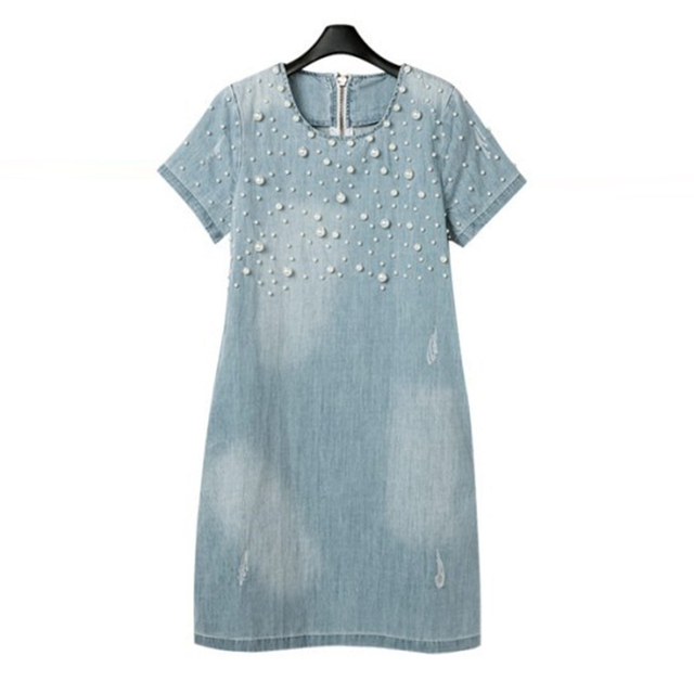 Лето 2017 г. Большие джинсы женское платье Повседневное бисером джинсовые женские Платья для женщин Костюмы 4XL 5XL Жан Ретро Vestidos