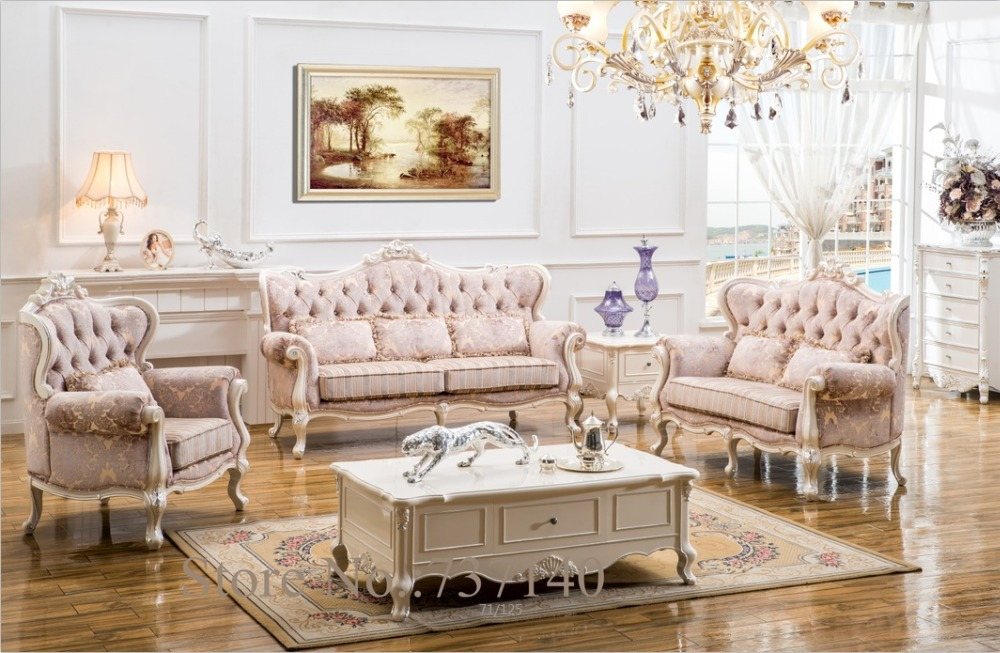 Sofa set living room furniture wood and fabric living room for Drawing room furniture set