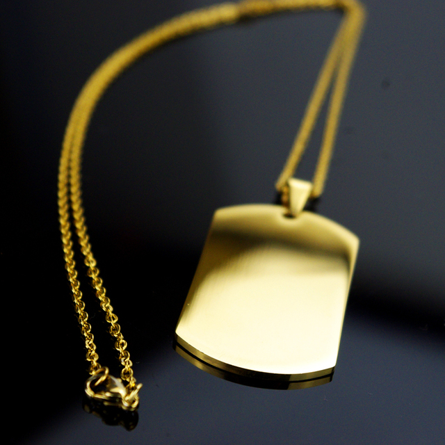 Fashion Gold Dog Tag Necklaces Pendants For Women Men Jewelry 55CM