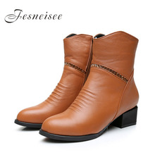 2017 Vintage Style Genuine Leather Women Boots Square Heels Soft Cowhide Women's Shoes Side Zip Ankle Boots Plus size41-43