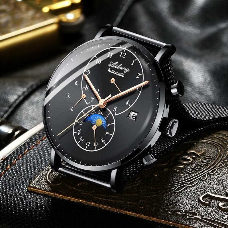 Automatic Mechanical Business Men Watches Top Brand Luxury Waterproof date Calendar Moon Phase Self Wind Wristwatch