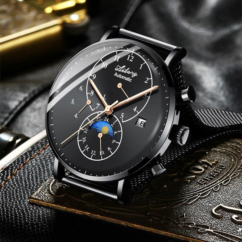 อัตโนมัติธุรกิจนาฬิกาผู้ชายแบรนด์หรูกันน้ำวันที่ปฏิทินดวงจันทร์ Self   Wind นาฬิกาข้อมือ Relogio ใหม่-ใน นาฬิกาข้อมือกลไก จาก นาฬิกาข้อมือ บน   1
