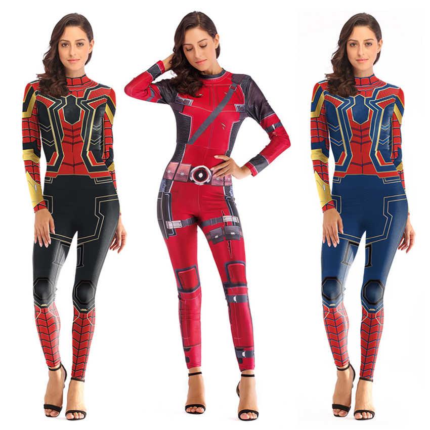 Donne Costume di Spiderman Capitan Marvel Costumi Costume di Halloween per Adulti Carol Danvers Captain America del Vestito